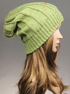 Knit Hat Women's Knit Hat in green Winter Beanie by GoKnitsDotCom