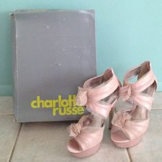 Charlotte Russe Sandal Charlotte Russe soft pink sandal, tule over satin fabric. Worn once, perfect condition! Charlotte Russe Shoes Heels