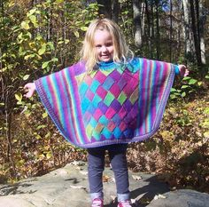 Looking for your next project? You're going to love Diamonds & Rainbows Poncho by designer JennySnedeker.