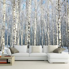 Custom 3D Wall Paper Natural Scenery Murals Winter Birch Forest Landscape Wallpaper Large Mural For Living Room Sofa TV Backdrop #Affiliate