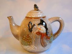 Vintage Hallmark Christmas Snowman Stoneware Tea Pot - Bless Us One and All | eBay