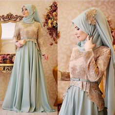 Image may contain: 1 person Muslim Wedding Dresses, Muslim Dress, Bridesmaid Dresses, Beautiful Hijab, Beautiful Dresses, Abaya Fashion, Fashion Dresses, Fashion Muslimah, Model Kebaya Modern