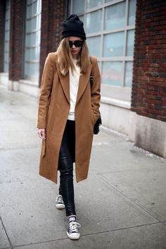 dark camel jacket with leather leggings.