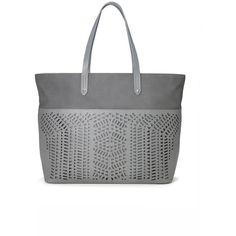 Stella & Dot Hudson Tote Large - Slate Grey Perf ($178) ❤ liked on Polyvore featuring bags, handbags, tote bags, zip top leather tote, grey leather handbags, gray leather handbag, leather purse and zip tote