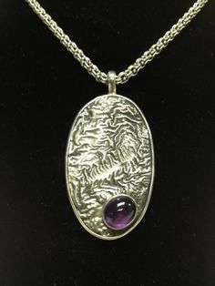 Reticulated sterling silver and amethyst pendant by SilverofOz, $245.00