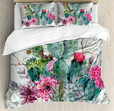 Cactus Decor King Size Duvet Cover Set by Ambesonne, Spring Garden with Boho Style Bouquet of Thorny Plants Blooms Arrows Feathers, Decorative 3 Piece Bedding Set with 2 Pillow Shams, Multicolor