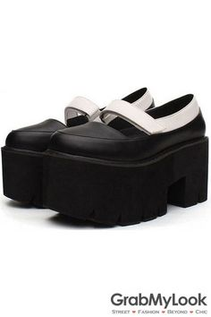 014f0a5876ab GrabMyLook Black White Round Head Punk Rock Gothic Thick Platforms Sole  Women Shoes Heels Simple Shoes
