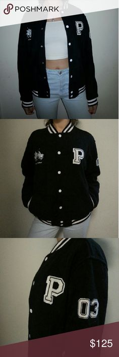 Vintage Polo Letterman Jacket Stylish vintage letterman jacket from Polo. The jacket's material is soft and warm and it is in perfect condition except for holes in the pocket, but it can be easily fixed. Urban Outfitters Jackets & Coats