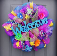 Large 26'' Summer / Spring Deco Mesh Welcome Wreath on Etsy, $70.00