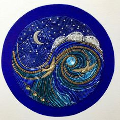Love birds take a Moonlight Flight on a starry night. This deep blue and bronze beaded mosaic is dia on 10 x 10 square wood panel. Panel depth is Original design by Diana Maus. Ready to hang. Use the left and right arrows to see more views of this item. Ocean At Night, Mosaic Art, Mosaic Glass, Mosaic Mirrors, Stained Glass, Bronze, Mermaid Art, Embroidery Art, Love Birds