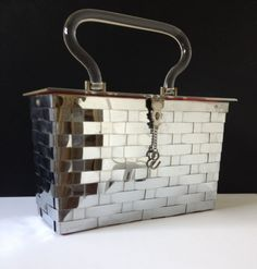 Dorset & Rex Silver Basket Weave Red Interior w/ Clear Lucite Top & Handle Purse #DorsetRexFifthAvenue #TotesShoppers