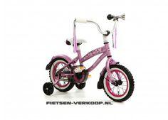 Meisjesfiets Beachcruiser Bela Donkerroze 12 Inch | bestel gemakkelijk online op Fietsen-verkoop.nl