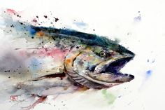 A dramatic watercolor painting of a wild fish by Dean Crouser whose splashy paint style suits aquatic animal paintings Watercolor Fish, Butterfly Watercolor, Watercolor Animals, Watercolor Paintings, Watercolor Paper, Tattoo Watercolor, Ceramic Fish, Fish Print, Art Store