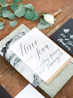 Modern marbled wedding invites