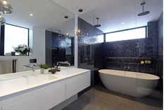 MELBOURNE, AUSTRALIA - NOVEMBER 2ND 2014;Contestants reveal their 2nd room (bathroom) on Sunday the 2nd of November 2014 in Melbourne Australia. (Photo by Martin Philbey) *** Local Caption ***The Block