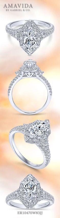 AMAVIDA by Gabriel & Co.-Voted #1 Most Preferred Fine Jewelry and Bridal Brand. 18k White Gold Marquise Halo  Engagement Ring.