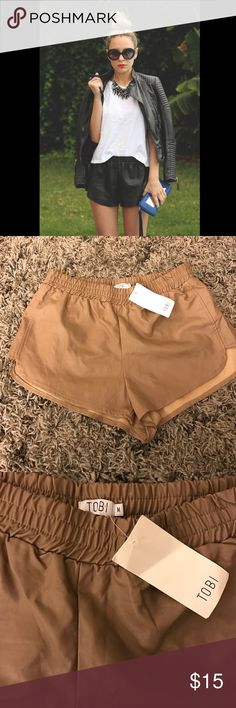 "NWT✨Tobi Vegan Leather Shorts✨Tan✨ Size Medium Brand new with tags attached✨ only Tan color left, black picture posted for visual of fit✨ Elastic Stretch Waist✨ waist measurement 14.5"", Rise 11"" Tobi Shorts"