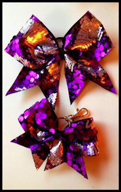 d3334d927d Purple silver sequins Cheer Bow  amp  backpack bow SET on Etsy
