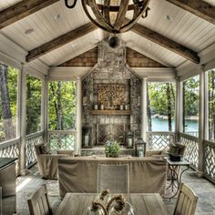 """""""View this Great Traditional Porch with Screened porch & exterior stone floors. Discover & browse thousands of other home design ideas on Zillow Digs. Wooden Ceiling Design, Wooden Ceilings, Screened Porch Designs, Screened In Porch, Enclosed Porches, Front Porch, Veranda Design, Porch Fireplace, Craftsman Fireplace"""