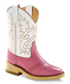 Perfect for a little girl that loves pink. Old West Pink  White Leather Cowboy Boot - Kids by Old West #zulilyfinds