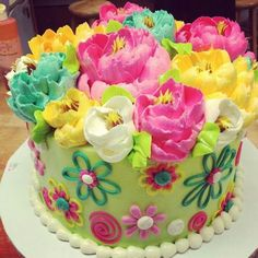 Brilliant Picture of Birthday Flower Cake . Birthday Flower Cake Adorable Flower Themed Buttercream Birthday Cake From The White Gorgeous Cakes, Pretty Cakes, Cute Cakes, Amazing Cakes, Birthday Cake With Photo, Birthday Cake With Flowers, Cake Birthday, Flower Birthday, Special Birthday Cakes