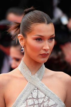 "Bella Hadid Photos - Bella Hadid attends the screening of ""Blackkklansman"" during the annual Cannes Film Festival at Palais des Festivals on May 2018 in Cannes, France. - 'Blackkklansman' Red Carpet Arrivals - The Annual Cannes Film Festival Beach Wedding Hair, Wedding Hair Down, Wedding Hair Flowers, Wedding Bun Hairstyles, Twist Hairstyles, Cool Hairstyles, Bella Hadid Hair, Medium Hair Styles, Curly Hair Styles"