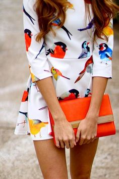 Bird print dress and orange clutch