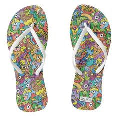 Shop Mix of funny doodles in a playful carnival pattern flip flops created by ZoocoDrawingLounge. Funny Doodles, Scary Monsters, Funny Character, Chart Design, Weird Creatures, Pattern Illustration, Surface Pattern Design, Doodle Art, Flipping