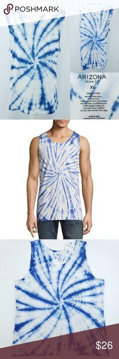 410c67ac6b76e Arizona Blue Spiral Tie Dye Cotton Tank Top Men XL Arizona Jean Co White   amp