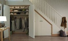 32 Clever Under The Stairs Storage Ideas Understairs Storage Clever Ideas stairs storage Staircase Storage, Hallway Storage, Staircase Design, Shoe Storage Under Stairs, Attic Storage, Modern Staircase, Coat Cupboard, Hall Cupboard, Shoe Cupboard