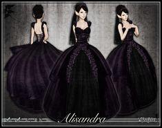 Second Life Marketplace - [Wishbox] Dark Alisandra - Gothic Wedding Gown Dress (Black & Purple)