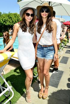 White hot! Jamie Chung posed for a photo alongside Hannah Simone, both looking beautiful in white eyelet