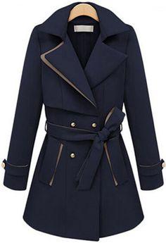 Royal Blue Lapel Long Sleeve Belt Coat