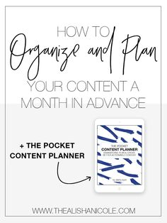 Throughout this blog I've taken you into my blog post writing process,  we've talked about how to generate new ideasandyou know the 3 factors  that make up incredible content. Now I want to dig a little deeper into how  to get your content organized and planned for the next month (or more!)