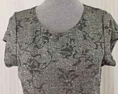 Silver Glitter Lined Top Marked XL Measures Medium by Scooter Onyxnite Flowers #OnyxniteScooterTops #Pullover #EveningOccasion