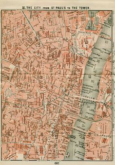 Items similar to 1905 Antique London Map The City from St. Paul's to the Tower, England, United Kingdom, UK on Etsy London Map, Tower Of London, City Maps, London Street, Antique Maps, Guide Book, London England, Vintage Prints, Custom Framing