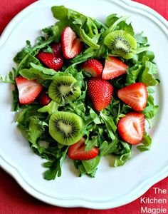 Strawberry, Kiwi & Lime Salad - The Kitchen Magpie Healthy Salads, Healthy Life, Healthy Eating, Best Salad Recipes, Healthy Recipes, Easy Recipes, Best Fruits, Organic Recipes, Christmas Eve Dinner