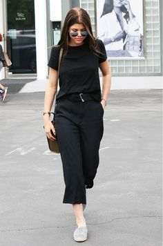 Your Celebrity Guide to Staying Cool While Looking Chic.. slouchy tee cropped trousers and espadrilles