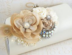 Bridal Clutch Bridesmaids clutch in Ivory Champagne by SolBijou