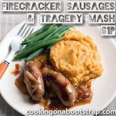 Jack Monroe: Firecracker sausages with tragedy mash Cheap Meals, Easy Meals, Pork Recipes, Cooking Recipes, Jack Monroe, Low Budget Meals, Mash Recipe, Mashed Sweet Potatoes, Cold Meals