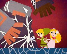 The Legend of Zelda - Phantom Hourglass 18x24 POSTER of Papercut Scene of Link and Zelda in a battle with Ganon