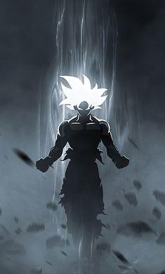 Goku, anime art, glowing eyes and hair, 1280x2120 wallpaper