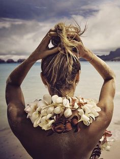 hair in a knot, sand on my feet, ocean in front of me...happiness