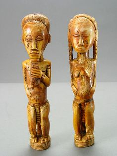 "Baule Ivory Spirit Spouse Sculpture - PF.3987 (LSO)  Origin: Central Ivory Coast  Circa: 19 th Century AD to 20 th Century AD  Dimensions: 7.5"" (19.1cm) high x 1.5"" (3.8cm) wide  Collection: African  Medium: Ivory"