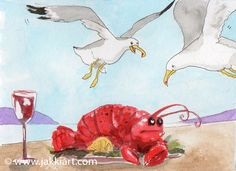 """""""Seagull and Lobster Plate"""" by Jakki Moore ~ French Inks & Watercolour www.jakkiart.com #Seagull #JakkiMoore #Lobster #Art Lobster Art, Watercolour, Plate, French, Painting, Collection, Pen And Wash, Watercolor Painting, Dishes"""