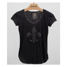 Velvet Stone Abbalone T-Shirt ($60) ❤ liked on Polyvore featuring tops, t-shirts, black, print tees, vintage style t shirts, pattern tops, stone top and velvet tops