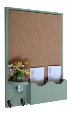 Cork Board Mail Organizer with Key Hooks & Mason Jar Cork Board Mail Organizer with Key Hooks & Mason Jar <br> Cork Board Organization, Do It Yourself Organization, Entryway Organization, Mail Organizer Wall, Key Organizer, Memo Boards, Cork Boards, Cork Board Ideas For Bedroom, Bedroom Ideas