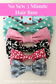 No Sew 3 Minute Hair Bows are quick and easy and turn out so cute. Make them in every color so you always have one to match your outfit.