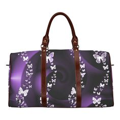 Purple Butterfly Swirl Waterproof Travel Bag/Large (Model 1639)