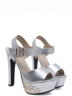 DeerGorgeous is an trusted online fashion store for top quality discount women shoes and clothing. We offer cheap wholesale price for latest and trendy clothing and shoes with fast delivery. Ankle Strap Heels, Ankle Straps, Silver Strappy Heels, Vintage Heels, Online Fashion Stores, Fashion Heels, Womens High Heels, Discount Shoes, Peep Toe